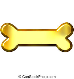 3D Golden Bone - 3d golden bone isolated in white
