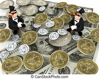 Two rich and many dollar\'s and coins