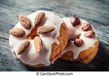 Donuts with almond and hazelnut