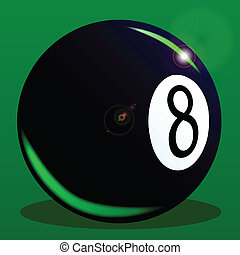 Eight Ball - The eight ball from a pool set on a green...