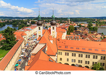 Telc, view on old town (a UNESCO world heritage site), Czech...