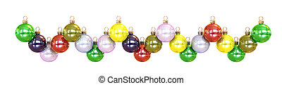 Garland from colored cristmas ball\'s isolated on white