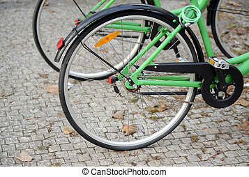 Bicycle detail on street