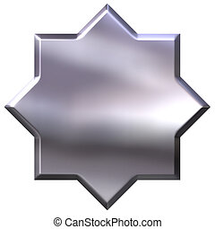 3D Silver 8 Point Star