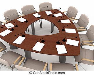 Conference table - The large conference table on white...