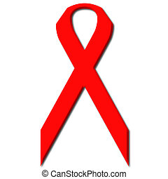 Awareness Red Ribbon a symbol for the fight against Aids and...