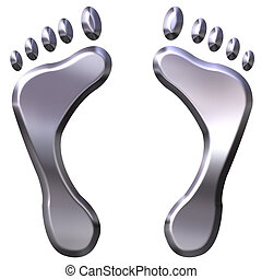 3D Silver Foot Prints - 3d silver foot prints isolated in...