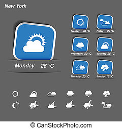 Vector weather forecast, widget, banner and symbols -...