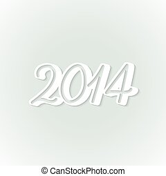 Vector paper label happy new year 2014
