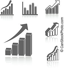 Vector set of business statistic graph - infographic icons, symbols