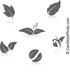 Vector nature symbols - leaf icon, silhouette with shadow -...