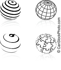 Vector globe symbols - icons of world - illustration