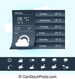 Vector weather forecast, widget, banner and symbols -...