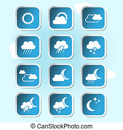 Vector weather forecast, banners, buttons - weather symbols...