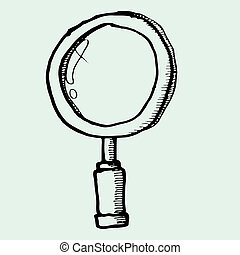 drawing of magnifying glass vector- isolated on background