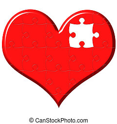 3d heart puzzle with missing piece isolated in white