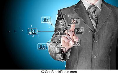 Businessman pressing modern social buttons