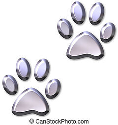 3D Silver Animal Foot Prints - 3d silver animal foot prints...