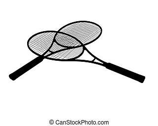 Silhouette of Tennis rackets isolated on white background