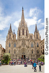 Facade of Barcelona gothic cathedral, in Spain - Facade of...