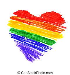 regnbåge, hjärta