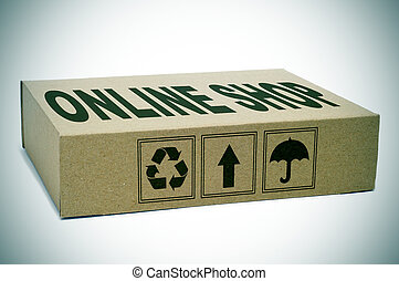 online shop - a cardboard box with the text online shop...
