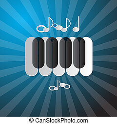 Abstract Blue Music Background with Piano Keyboard