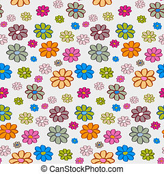 Retro Vector Flowers Seamless Pattern, Background