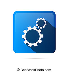 Blue Square Cogs, Gears Icon