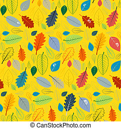 Abstract Yellow Seamless Pattern with Leaves