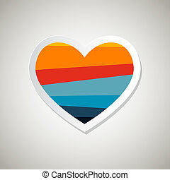 Abstract Paper Vector Retro Heart Symbol