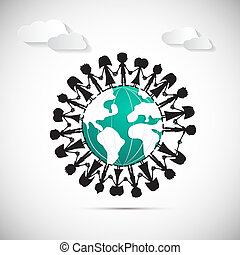 People Holding Hands Around Globe with Paper Clouds
