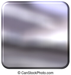 3d silver square with rounded edges isolated in white