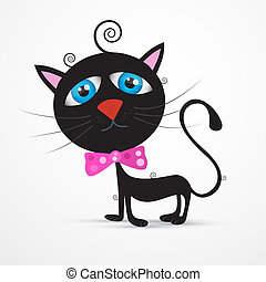 Vector Black Cat, Kitten with Blue Eyes and  Pink Bow Tie