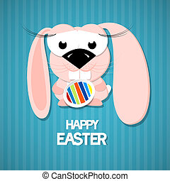 Vector Retro Easter Paper Background. Cute Pink Rabbit...