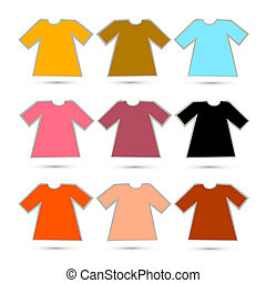 Vector T-shirt Set in Retro Colors Isolated on White Background