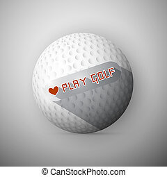 Golf Ball Illustration. Abstract Vector Background. I Love Golf Title.