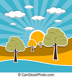 Nature Scenery Retro Illustration with Clouds, Sun, Sky,...