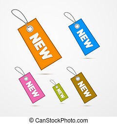 Retro Paper Labels, Tags With Strings and Title New