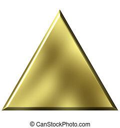 3D, dourado, triangulo