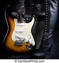 Électrique, guitare, à, amplificateur