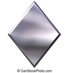 3D Silver Diamond - 3d silver diamond isolated in white