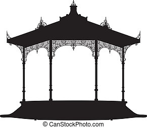 Shadow of a bandstand - Vector illustration of a bandstand,...