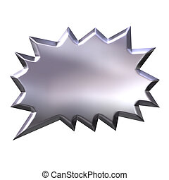 3D Silver Shout Bubble - 3d silver shout bubble isolated in...