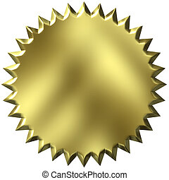 3D Golden Seal - 3d golden seal isolated in white