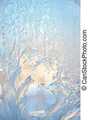 Ice natural background - Frosty pattern at a winter window...