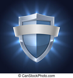 Glowing shield with blank ribbon safety badge on black...