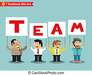 Office personnel holding team sign - Business life. Office...