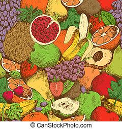 Bright juicy fresh fruits seamless pattern