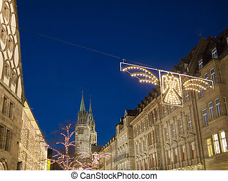 Night scene Nuremberg with Lorenz church Germany in December
